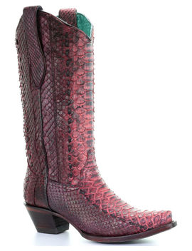 Corral Women's Red Full Python Woven Cowgirl Boots   Snip Toe by Corral
