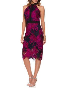 High Neck Lace Midi Dress by Boston Proper