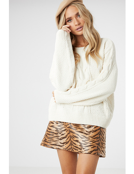 Matte Chenille Cable Knit by Ally Fashion