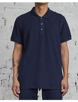 Reigning Champ Athletic Pique Polo Navy by Less 17