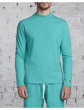 Reigning Champ X District Vision Lightweight Terry High Neck Crew Teal by Less 17