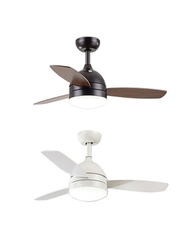 Wood And Metal Living Room Led 16.54'' W Ceiling Fan Mount With Lights In White/Satin Black by Beautiful Halo