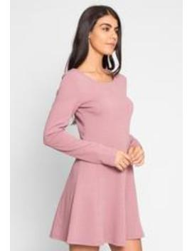 Love Notes Texture Knit Dress In Mauve by Wet Seal