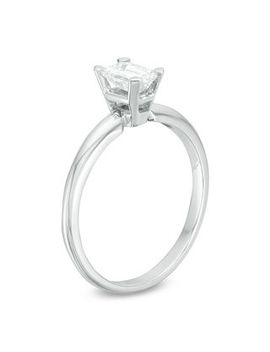 1/4 Ct. Certified Emerald Cut Diamond Solitaire Engagement Ring In 18 K White Gold (I/Vs2) by Special Value