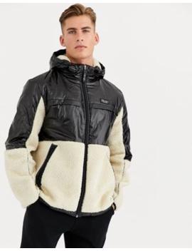 river-island-nylon-fleece-jacket-in-black-&-ecru by river-island