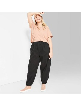 womens-plus-size-high-rise-baggy-cargo-pants---wild-fable-black by wild-fable