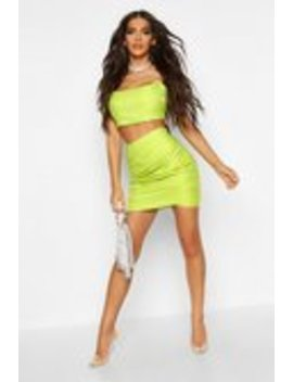 Metallic Ruched Wrap Front Mini Skirt Metallic Ruched Wrap Front Mini Skirt by Boohoo