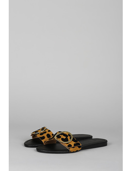 Round Buckle Open Toe Flat Slide Sandal by Urbanog