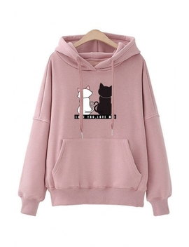 Love You Letter Cats Print Long Sleeve Casual Hoodie by Beautiful Halo