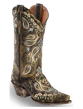 Dan Post Women's Paisley Embroidered Western Boots   Snip Toe by Danpost