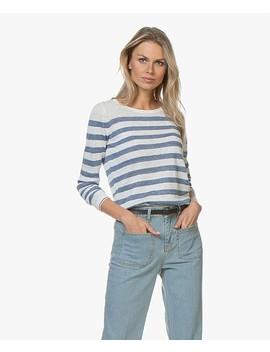La Lina Gestreepte Linnen Trui • Wit/Jeans by Plein Publique