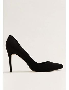 Faux Leather Asymmetric Stiletto Heel   Black by Mango