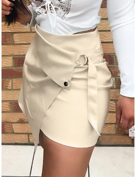 White High Waist Buckle Strap Chic Women Pu Mini Skirt by Choies