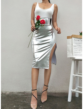 Silver High Waist Split Side Chic Women Skirt by Choies