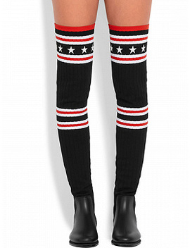Black Knit Star Pattern Flat Over The Knee Boots by Choies