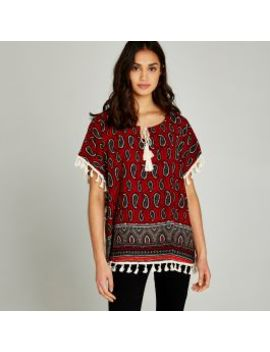 Red Batik Paisley Tassle Trimmed Top by Apricot