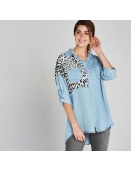 Blue Leopard Print Patchwork Shirt by Apricot