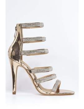 Rose Gold Metallic Strappy Diamante Heels by Hidden Fashion