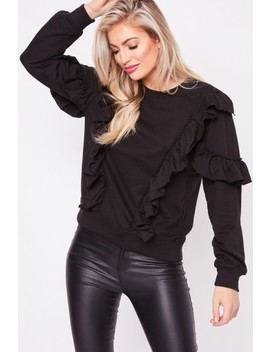 Chloe Black Ruffle Jumper by Misspap