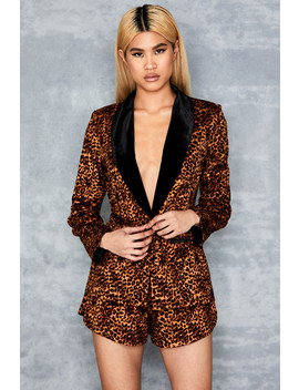 Leopard Print Velvet Trimmed Blazer   Sale by Mistress Rocks