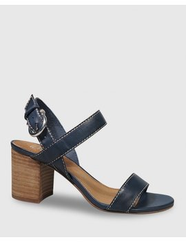 Neela French Navy Leather Contrast Stitch Sandal by Wittner