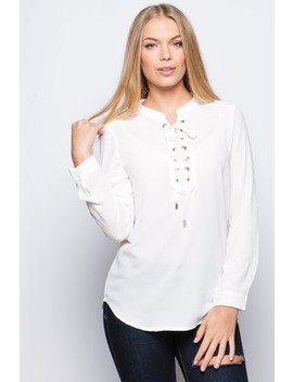 Shania White Lace Up Front Blouse by Misspap