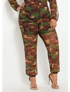Camo Mesh Jogger by Ashley Stewart