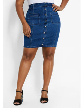 Belted Denim Skirt by Ashley Stewart