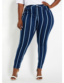 Striped High Waist Skinny Jeans by Ashley Stewart