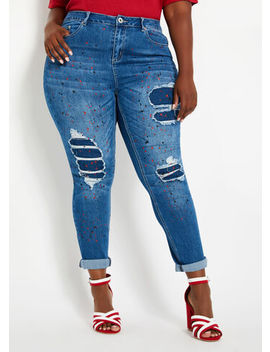 Distressed Paint Splatter Jeans by Ashley Stewart