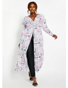 Newspaper Diva Tunic by Ashley Stewart