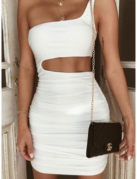 White One Shoulder Cut Out Waist Bodycon Mini Dress by Choies
