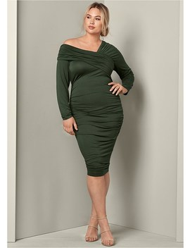 Plus Size Drape Detail Bodycon Dress by Venus