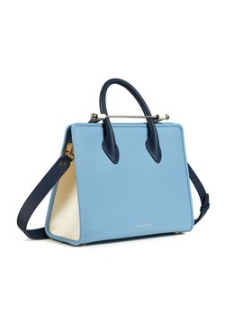 The Strathberry Midi Tote   Tri Colour Alice Blue/Vanilla/Navy by Strathberry