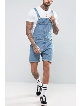 Mens Vintage Light Blue Rolled Cuff Suspenders Denim Overall Shorts by Beautiful Halo