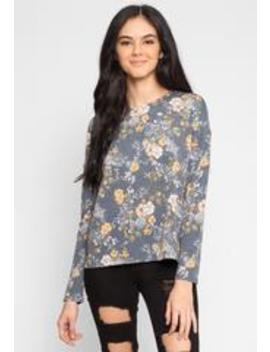 Solstice Floral Knit Top In Blue by Wet Seal