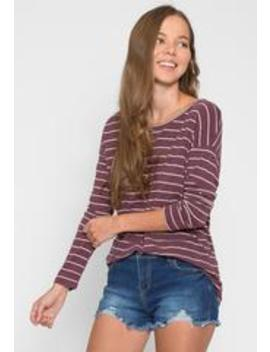 School Day Stripe Knit Top In Purple by Wet Seal