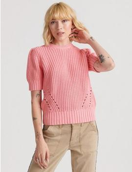 Pleat Shoulder Short Sleeve Sweater by Lucky Brand