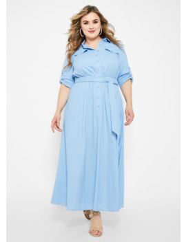 Long Sleeve Smock Waist Linen Maxi by Ashley Stewart