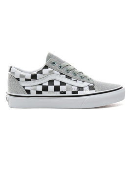 Glitter Checkerboard Old Skool Shoes by Vans