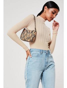 Nude Rib High Neck Knit Top by Missguided