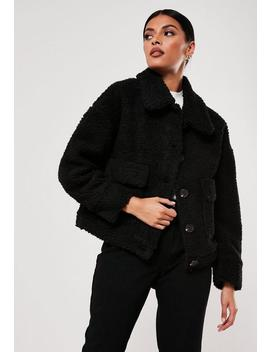 Black Cropped Borg Teddy Trucker Jacket by Missguided