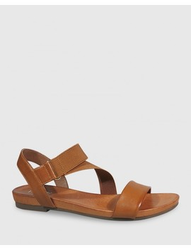 Lyla Cognac Leather & Elastic Flat Sandal by Wittner