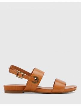 Lita Coconut Scotch Leather Open Toe Flat Sandal by Wittner