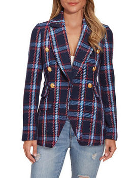 Double Breasted Plaid Blazer by Boston Proper