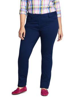 Women's Plus Size Petite Chino Mid Rise Straight Leg Pants by Lands' End