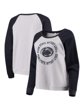 Blue 84 Penn State Nittany Lions Women's White Cozy Fleece Raglan Crew Pullover Sweatshirt by Fans Edge