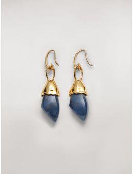 Металлические серьги Stones с замком крючком и синим камнем by Marni