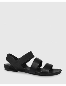 Lillis Black Leather & Elastic Flat Sandal by Wittner
