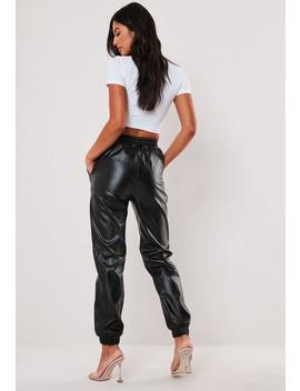 Pantalon De Jogging Noir En Simili Cuir Tall by Missguided